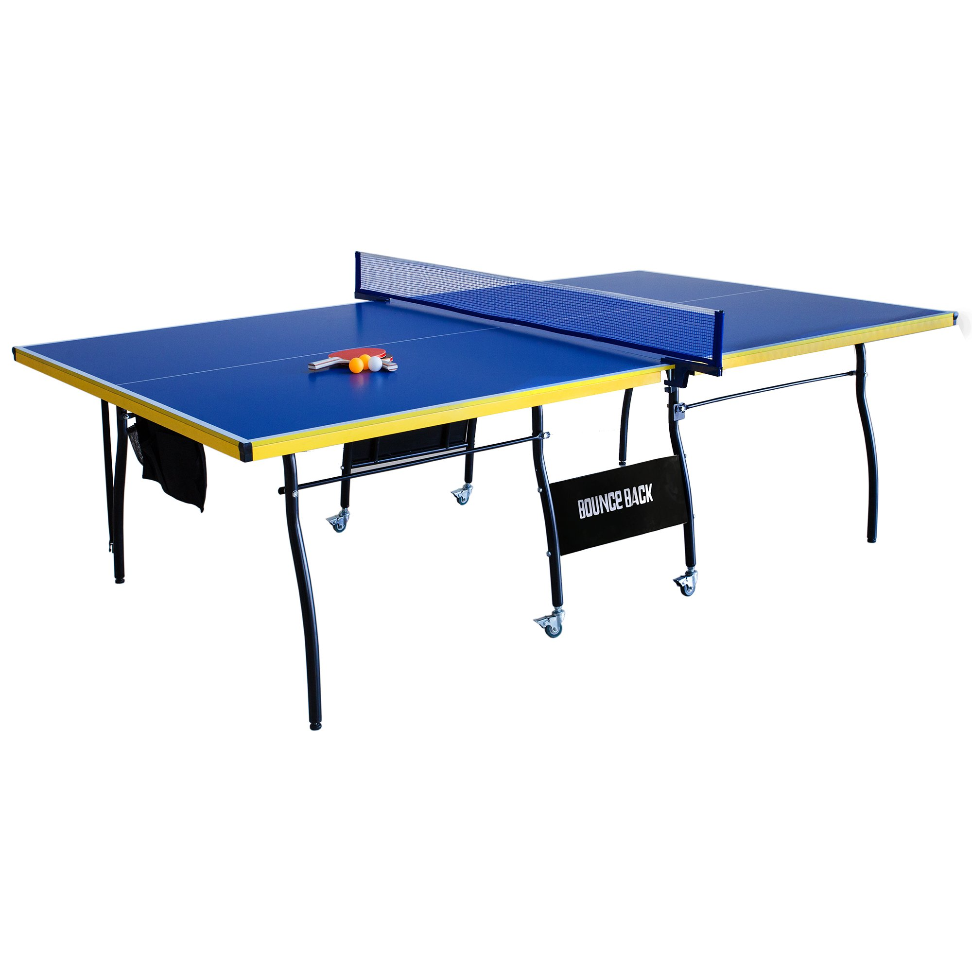 Hathaway Bounce Back Table Tennis - Regulation-Sized 9'x5' Blue Table with Folding Halves for Individual Play - Includes Net, Paddles, Balls