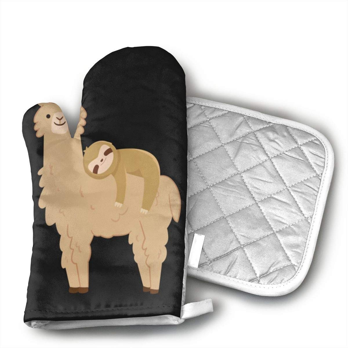 Teuwia Sloth Laying On A Llama Oven Mitts and Pot Holders Baking Oven Gloves Hot Pads Set Heat Resistant for Finger Hand Wrist Protection