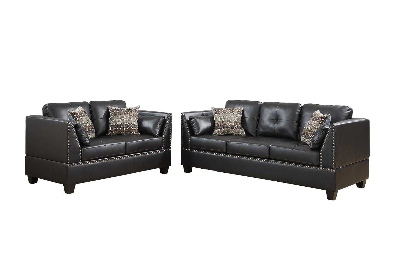 Zenda Bonded Leather 2 Piece Sofa and Loveseat Set, Espresso