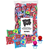 Ring Pop Individually Wrapped Bulk Lollipop Variety Party Pack – 50 Count Lollipop Suckers w/ Assorted Flavors - Fun Candy fo