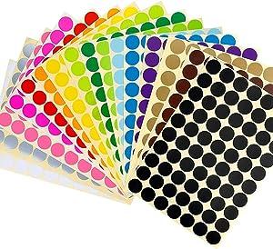 "JANYUN 2240 Pcs 3/4"" Round Coding Circle Sticky Dot Labels Stickers, 16 Colors"