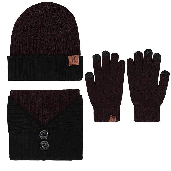 16d92ff3230e Bequemer Laden - Ensemble bonnet, écharpe et gants - Homme - Violet -  Taille Unique