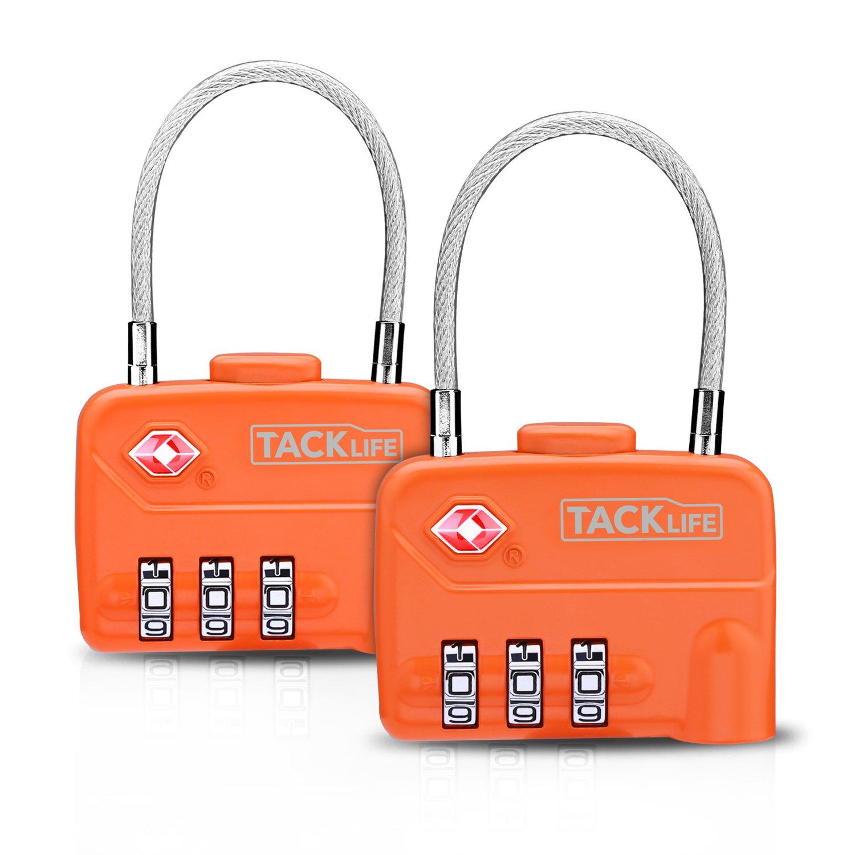 Cerraduras de Equipaje, TACKLIFE HCL1A 2PCS-TSA Candadocable de Seguridad, Candados de combinació con 3 dígitos para preteger la seguridad de su maleta o uso en Gimnasio, Escuela, Vestuario
