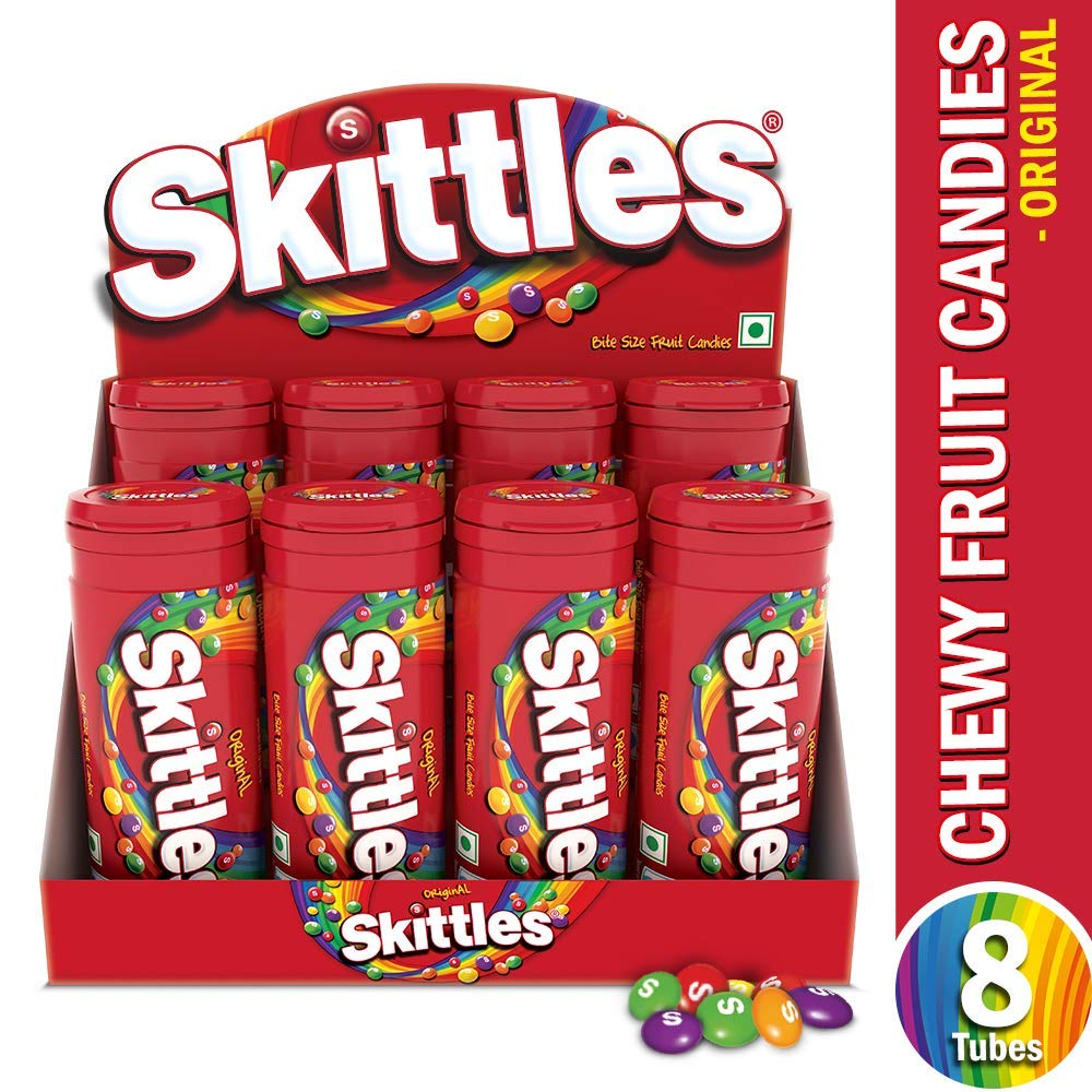 Skittles Bite-Size Fruit Candies Tube, Original PET Bottle,