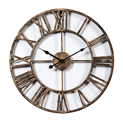 XSHION Wall Clocks 20 Inch Round Retro Rustic Battery Operated Decorative Vintage /Wall Clock Metal