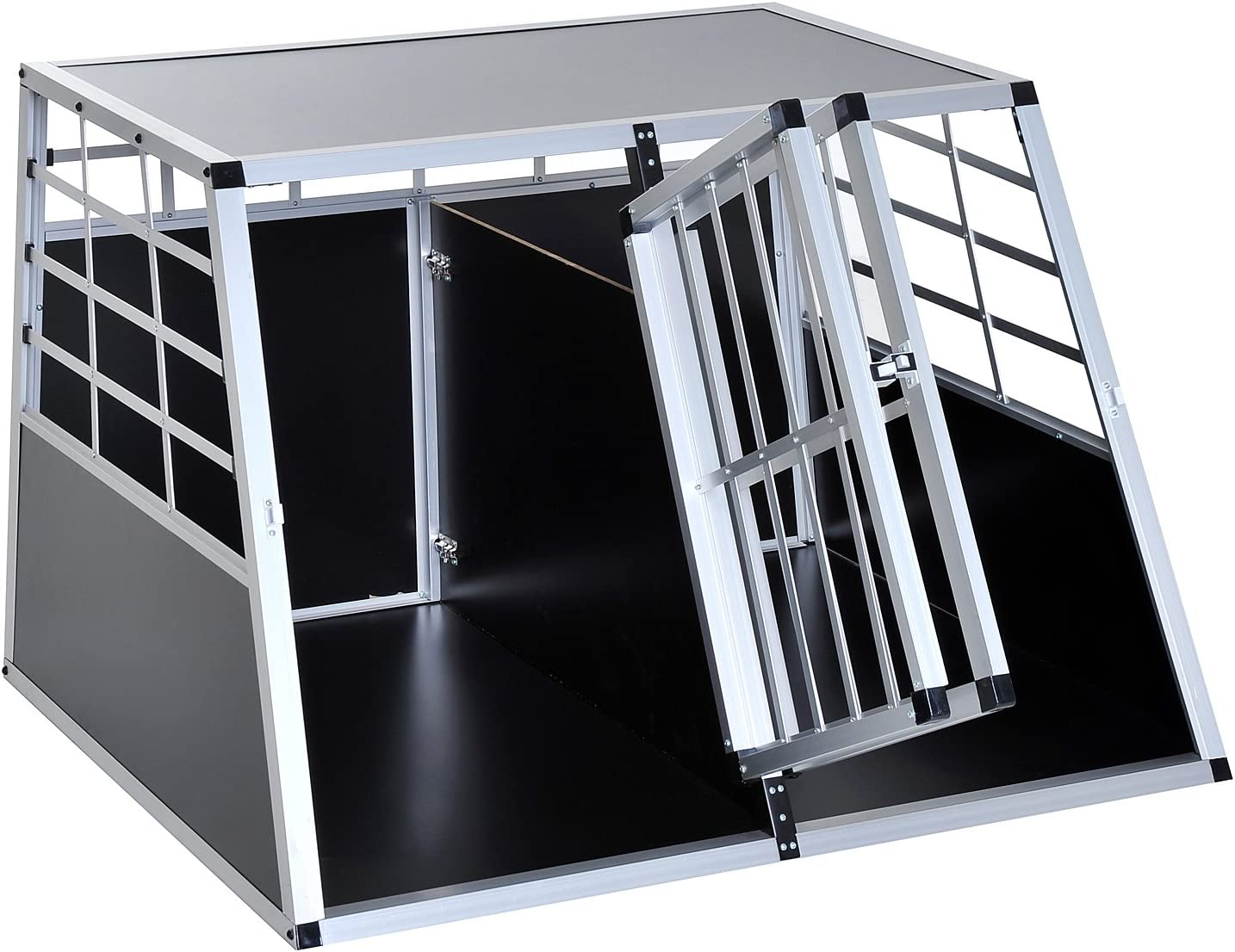 Jaula de transporte para perros, aluminio negro, 104 x 91 x 69 cm: Amazon.es: Productos para mascotas