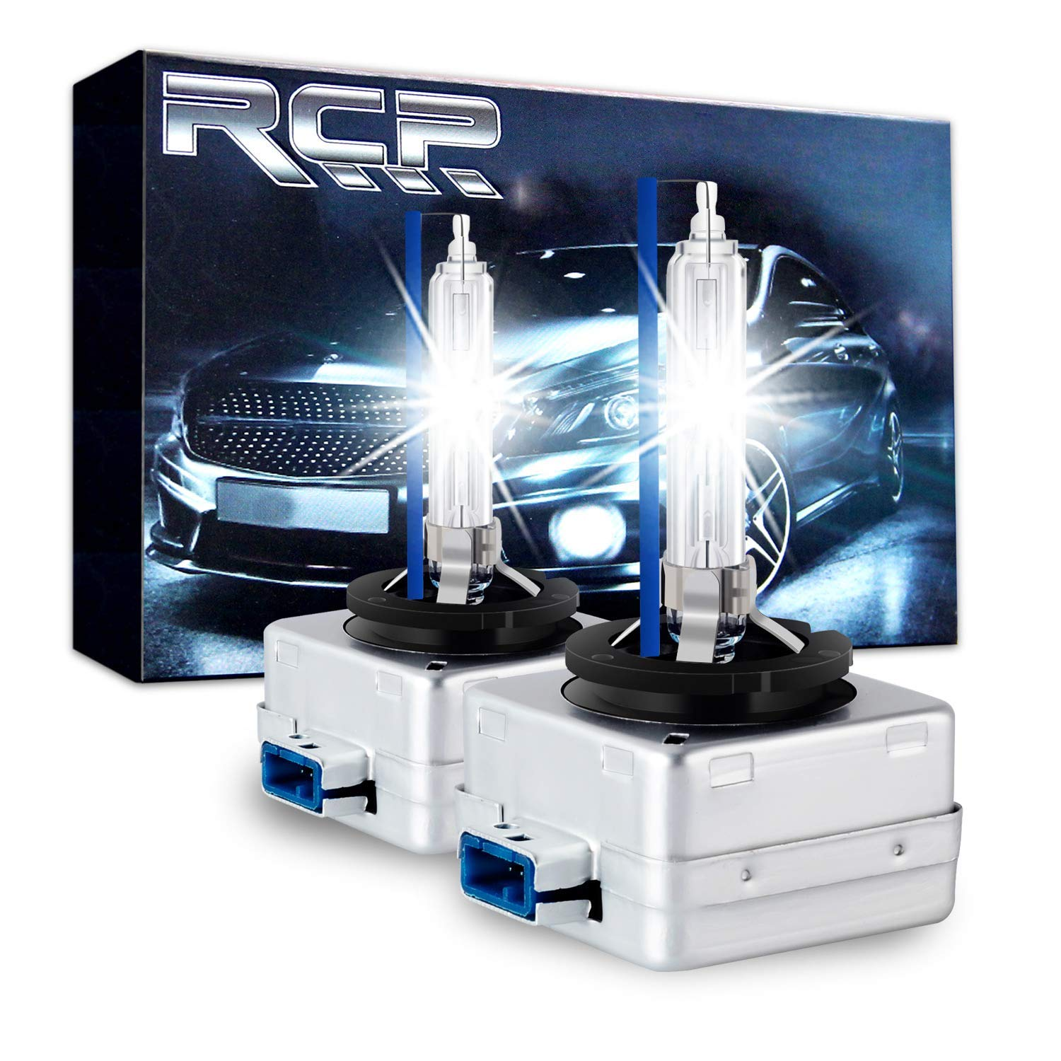 RCP D8S 8000K A Pair Xenon HID Replacement Bulb Ice Blue Metal Stents Base 12V Car Headlight Lamps Head Lights 25W (Renewed)
