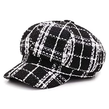 Autumn Winter Women Hat British Trend Retro Newsboy Gorras Mujer Beret Plaid Flat Cap,Black
