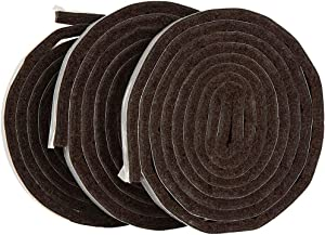 "SoftTouch 1/2 x 60"" Self-Stick Heavy Duty Felt Strips with Adhesive Backing 1/2"" x 60"", 3 Pack Brown"