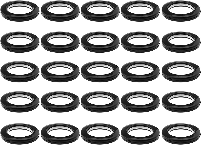 YINETTECH - Juego de 25 ojales para cortina, de plástico, forma redonda, de bajo ruido, para ventana, ducha, habitación, mochila, bolsa de agujero, color negro