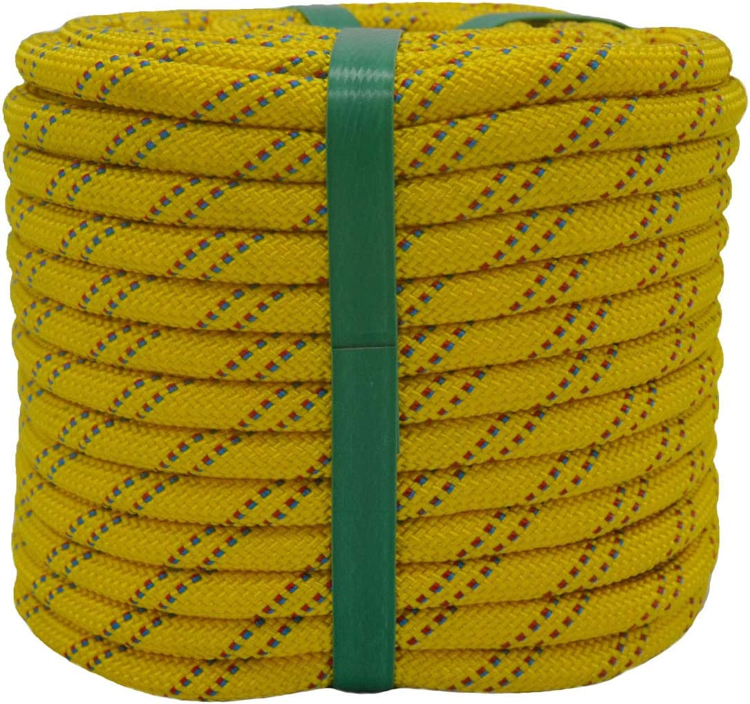 YUZENET Static Rock Climbing Rope 2/5 Inch 100 Feet Outdoor Safety Fire Escape Rope Rappelling Rope,Yellow/Blue/Red