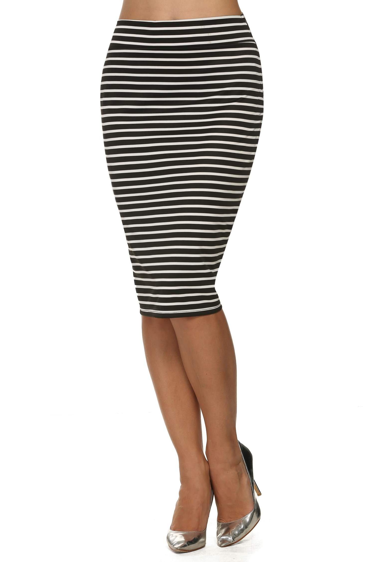 ACEVOG Womens Mid Length Wrap Style Pencil Skirt