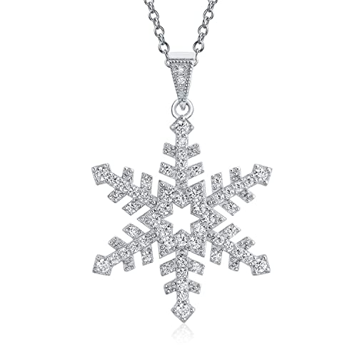 Christmas Holiday Branch Micro Pave Cubic Zirconia CZ Star Snowflake Pendant Necklace For Women 925 Sterling Silver