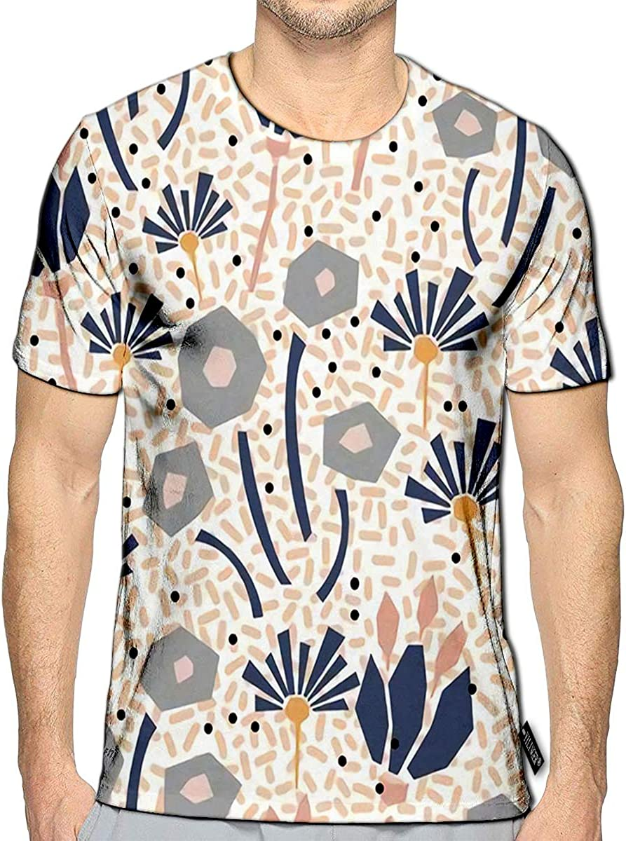 3D Printed T-Shirts Abstract Floral Elements Paper Collage Short Sleeve Tops Tee