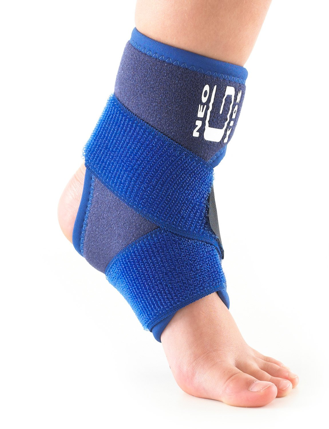 Neo G Ankle Brace for Kids - Support for Juvenile Arthritis Relief, Joint Pain, Ankle Injuries, Gymnastics, Basketball, Volleyball - Adjustable Compression - Class 1 Medical Device - One Size -Blue