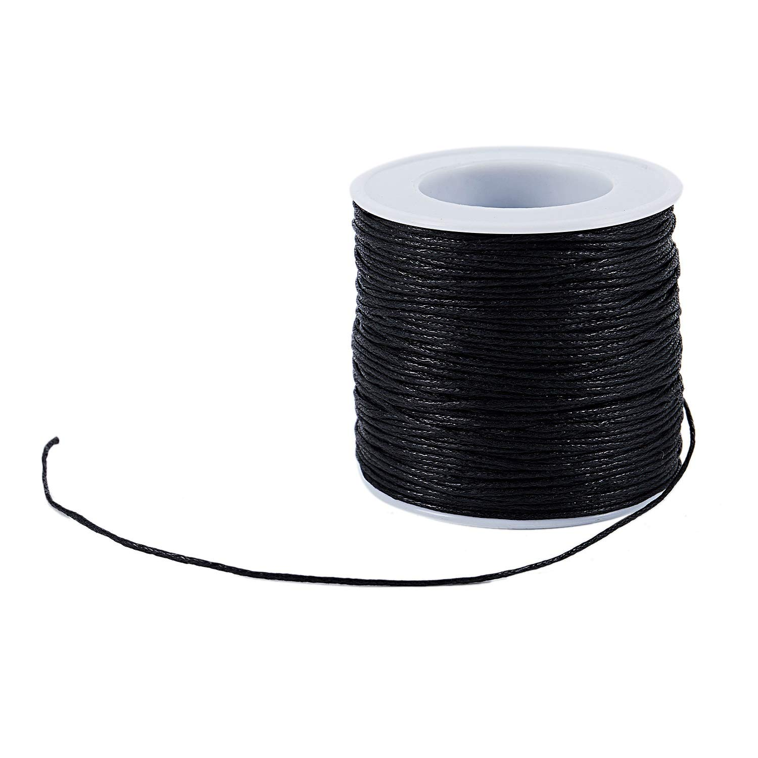 R SODIAL Roll Waxed Cotton Cords Wax String Cording for Beads Jewelry black 1.0mm