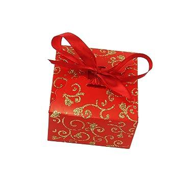 Cajas grandes con purpurina para regalo, con lazo, cajas de boda, rosso: Amazon.es: Jardín