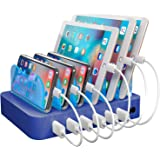 Hercules Tuff Charging Station for Multiple Devices, with 6 USB Fast Ports and 6 Short Mixed USB Cables Included for Cell Pho