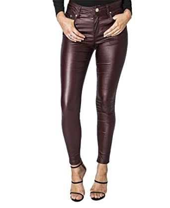 eae384f6060df Womens High Waisted Rise Wet Look PU Plus Size Faux Zips Cotton Party  Pockets Leather Wine