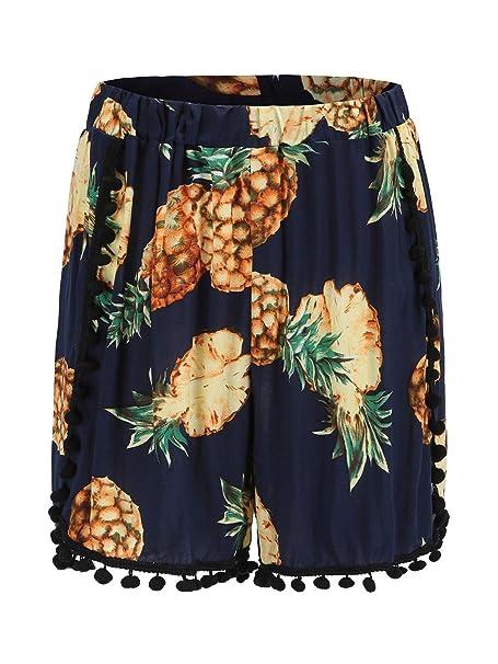 3d6a48f09fd CHARLES RICHARDS CR Women s Blue Pineapple Printed High Elastic Waist Mini  Shorts Hot Shorts