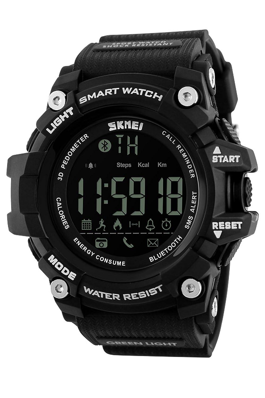 デジタルスマート腕時計Watchesスポーツカロリーフィットネストラッカー歩数計AndroidとiOSのシステム ブラック B07DHF5YYZ ブラック ブラック