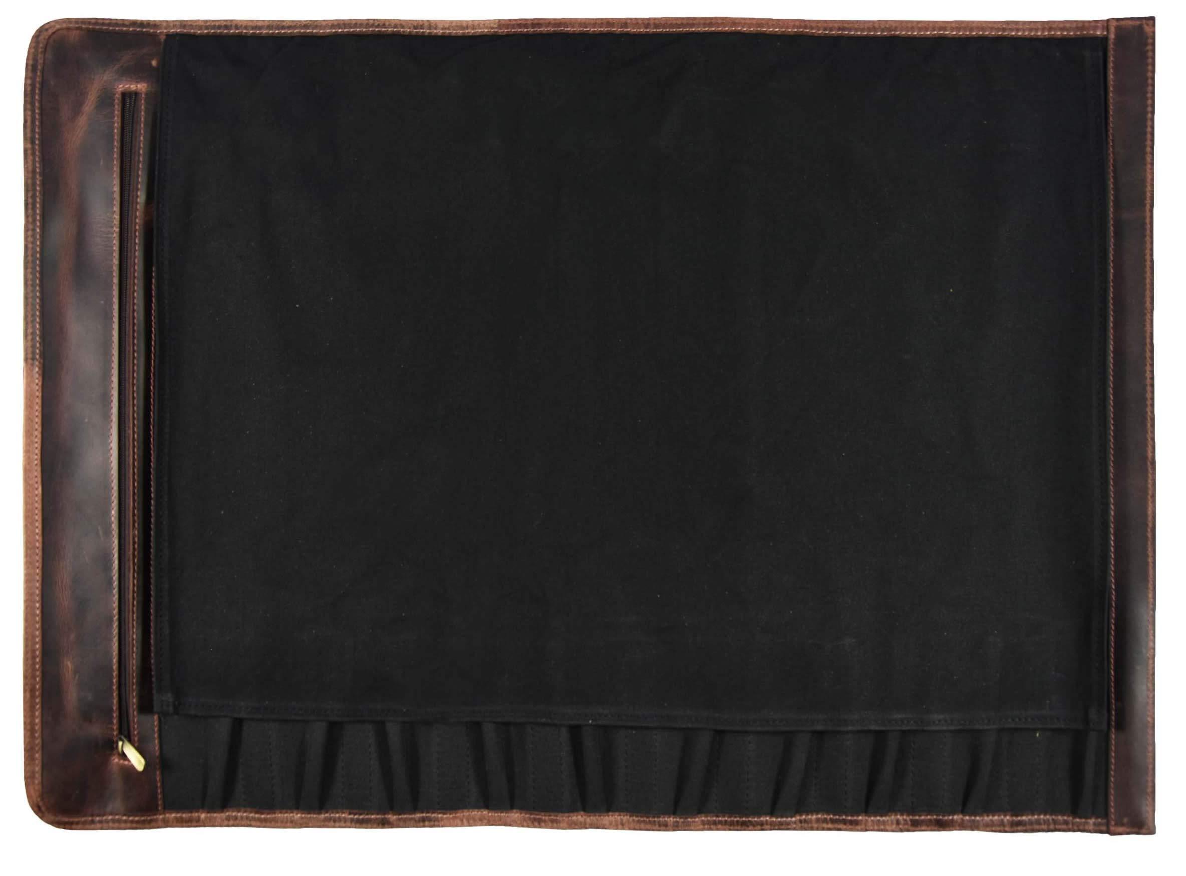 Leather Knife Roll Storage Bag   Elastic and Expandable 10 Pockets   Adjustable/Detachable Shoulder Strap   Travel-Friendly Chef Knife Case Roll By Aaron Leather (Raven, Canvas) by AARON LEATHER GOODS VENDIMIA ESTILO (Image #3)