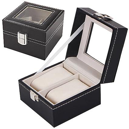 Sasairy Caja para Reloj Piel Sintética Caja de Almacenaje para Relojes con Tapa de Cristal Soporte