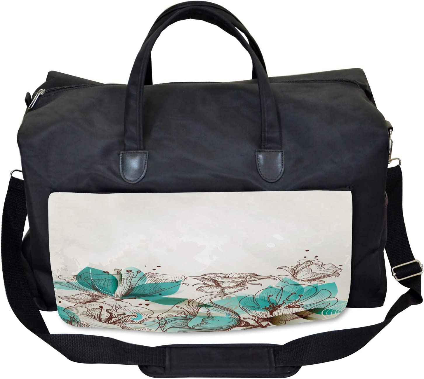 Ambesonne Turquoise Gym Bag Large Weekender Carry-on Retro Hibiscus Art