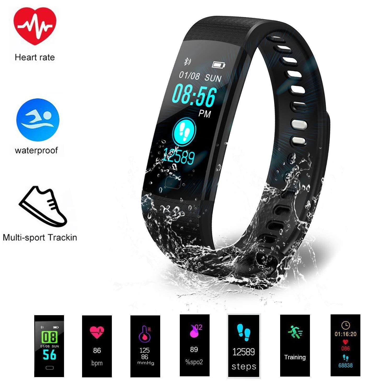 Hinmay Fitness Tracker HR, Pulsera Inteligente con Monitor de frecuencia Cardíaca, IP67, Impermeable, con Contador de Calorías, Podómetro, Monitor de Sueño, ...