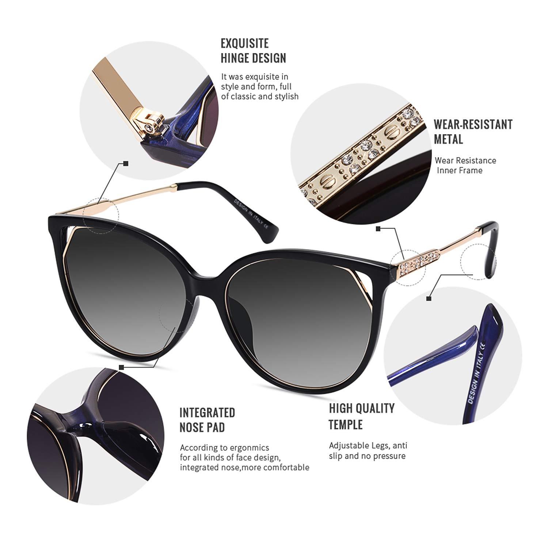 AOFLY Diamante Katzenaugen-Sonnenbrille Frauen Retro Damen Polarisierte UV Schutz Gradient Linse