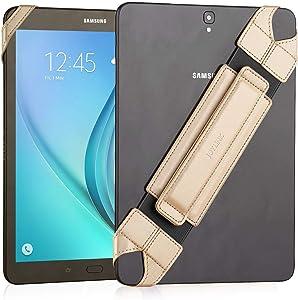 "JOYLINK Universal Tablet Hand Strap Holder, 360 Degrees Swivel Leather Handle Grip with Elastic Belt, Secure & Portable for All 10.1"" Tablets (Samsung Asus Acer Google Lenovo Kindle iPad), Gold"