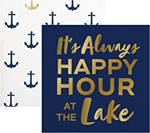 40 Lake and Nautical Themed Paper Napkins | Napkin Set For Cocktail Beverage, Luncheon, Dessert, Appetizer, Birthday Or Marine Theme Party | 2 Packs Of 20 Napkins