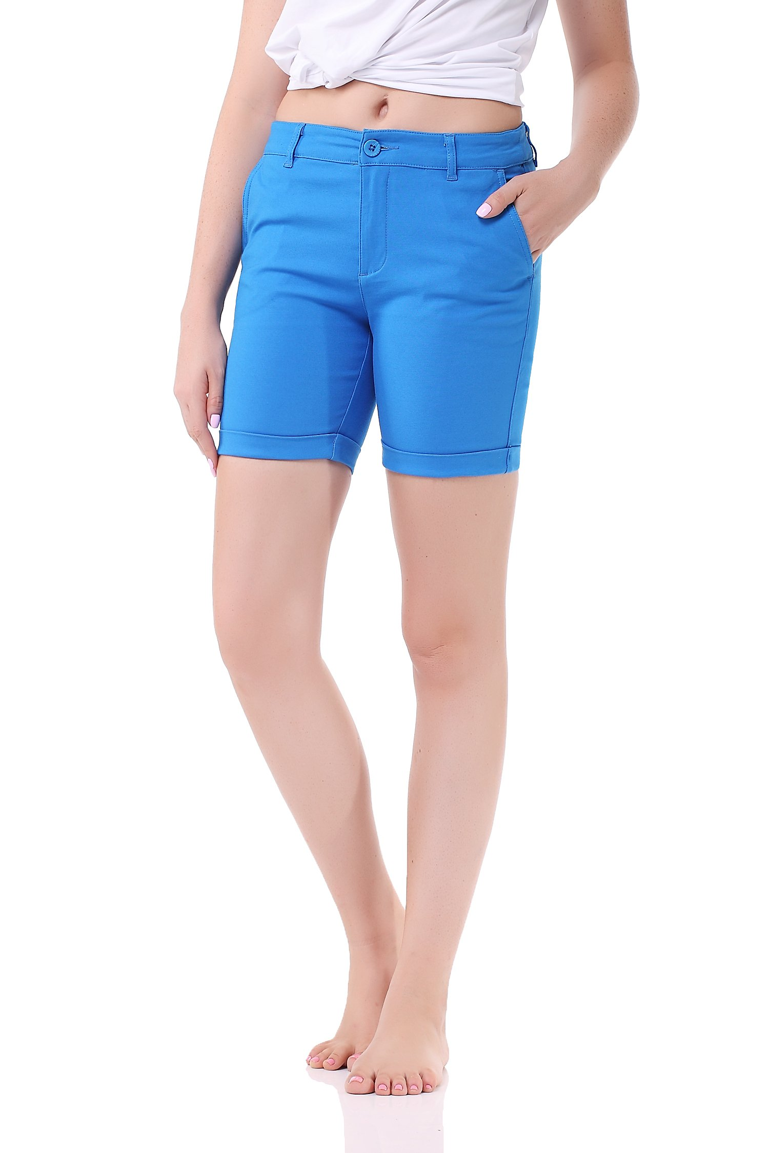 Pau1Hami1ton GP-03 Womens Stretch Bermuda Summer Walking Sport Shorts (L,Blue)