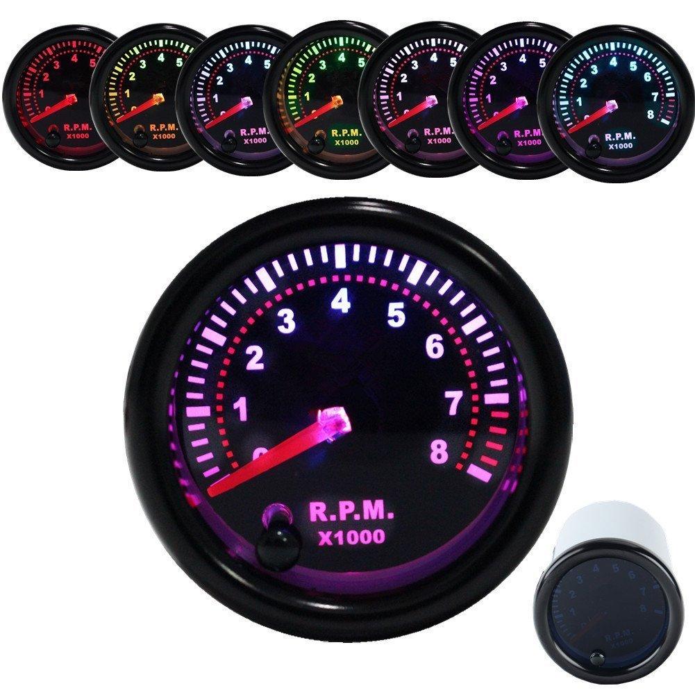 JUDING Exhaust Gas Temperature Gauge EGT Meter Smoke Universal 7-Colors LED 52mm 12V 200-1200 Celsius W/Sensor