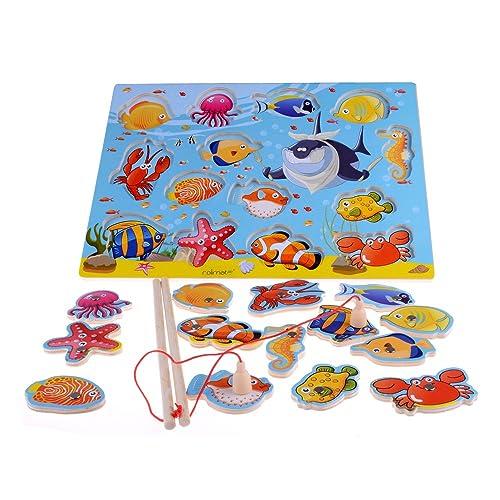 14-Piece Fishes Educational Development Basic Bois Pêche magnétique Voyage Bath Table de jeu, jouets de cadeau d'anniversaire pour l'âge 3 4 5 Ans Enfant Enfants Bébé Garçon Fille Toddl