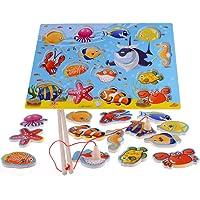 14-Piece Fishes Educational Development Basic Bois Pêche magnétique Voyage Bath Table de jeu, jouets de cadeau d'anniversaire pour l'âge 3 4 5 Ans Enfant Enfants Bébé Garçon Fille Toddler aimant Toy