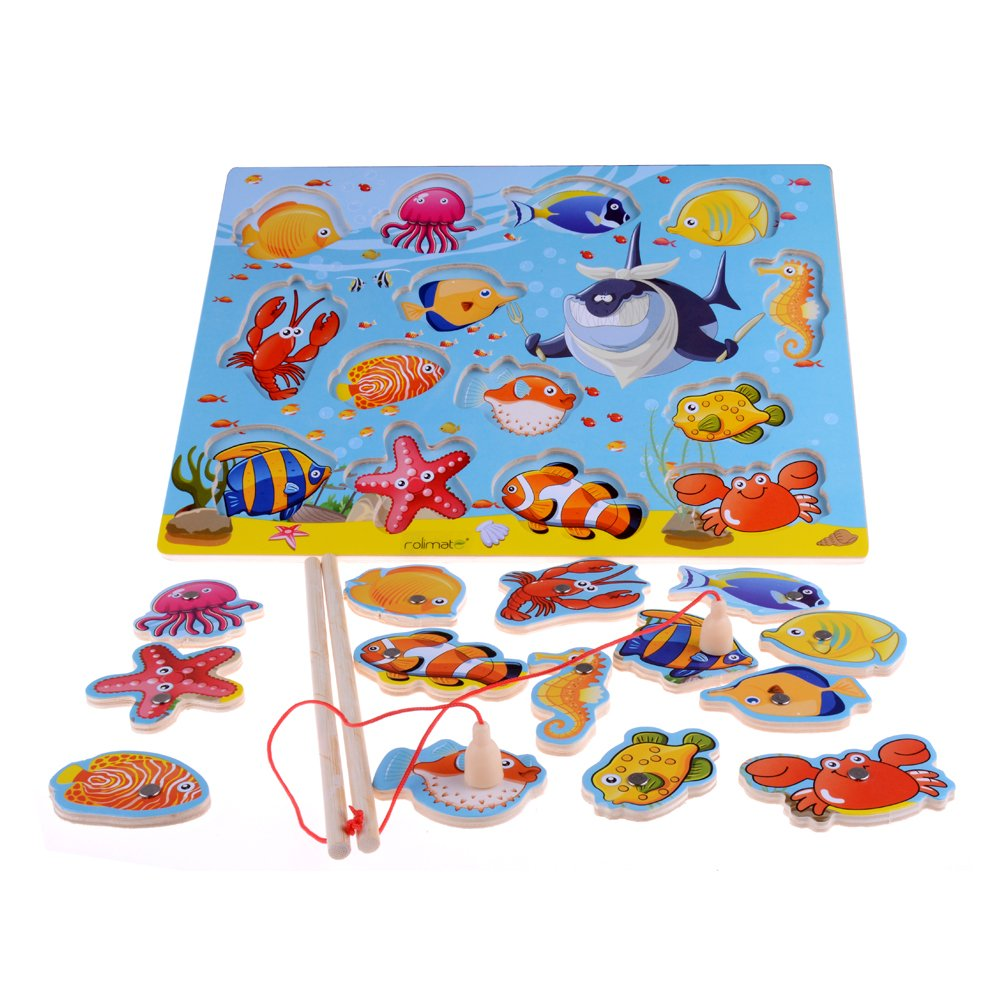 rolimate 14 Piece Fishes Basic Educational Development Wooden Magnetic Bath Fishing Travel Table Game Birthday Gift Toy for age 3 4 5 Year Old Kid Children Baby Toddler Boy Girl Magnet Toy 2.0