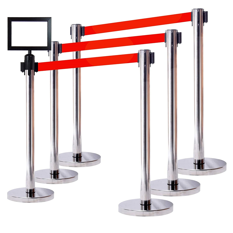 78 Belt 36 Ht Wall Bracket 6 YEL Posts Red Belt + SFrame + WBracket VIP Crowd Control Retractable Belt Queue Safety Stanchion Barrier Set