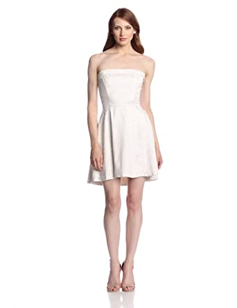 ERIN erin fetherston Women's Grace Jacquard Strapless Fit and Flare Dress, Ecru, 2