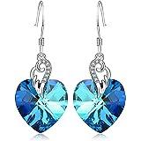 Sterling Silver Love Heart Dangle Drop Earrings...