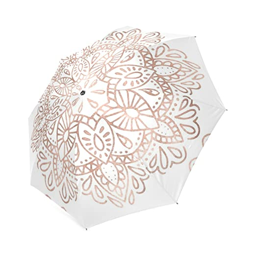 Beautytool Mandala Rose Gold Pink Shimmer Foldable Rain Umbrella