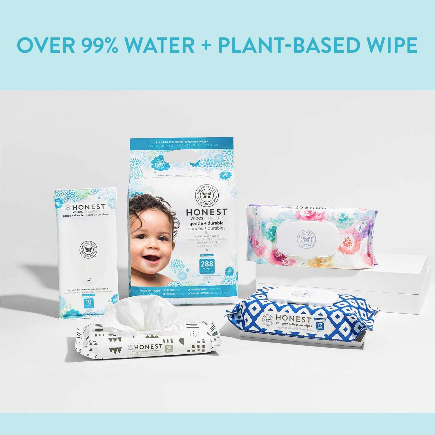 The Honest Company Designer Baby Wipes | Blue Ikat | Over 99 Percent Water | Pure & Gentle | Plant-Based | Fragrance Free | Extra Thick & Durable Wet Wipes | 288 Count