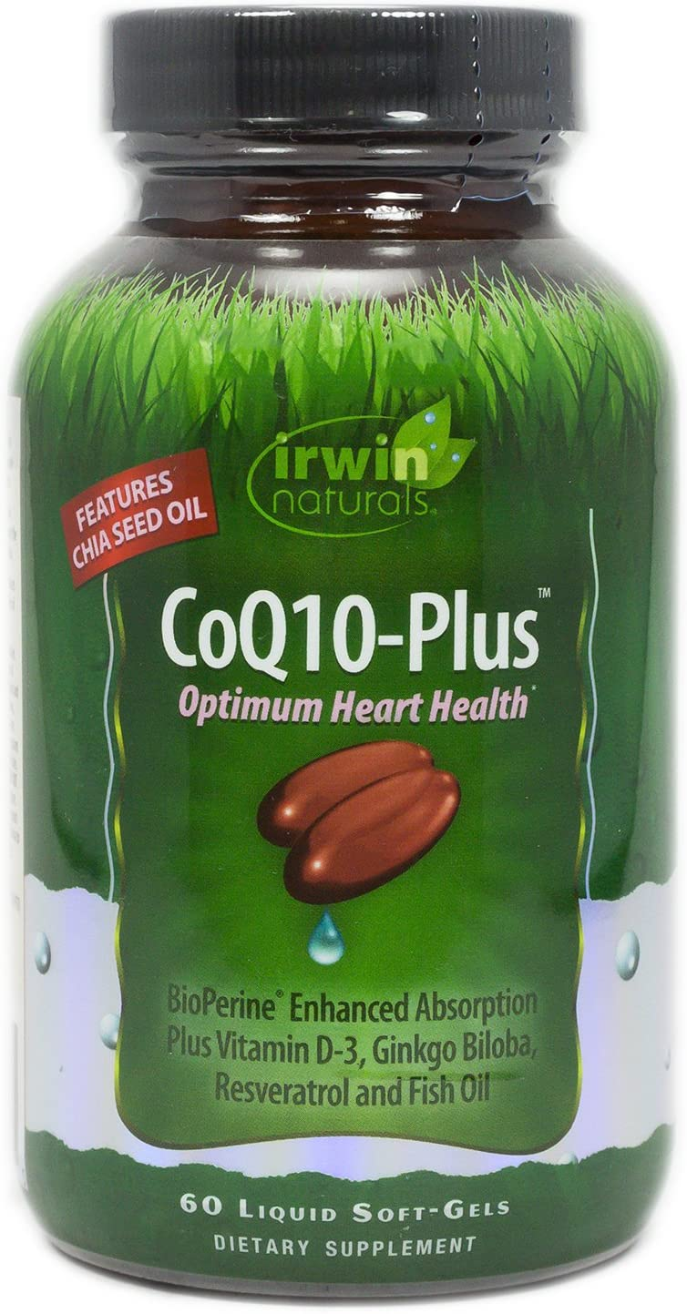 CoQ10-Plus Optimum Heart Health by Irwin Naturals, Enhanced Absorption with Chia Seed Oil, 60 Liquid Soft-Gels