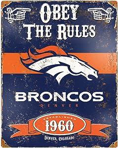 Party Animal NFL Embossed Metal Vintage Denver Broncos Sign