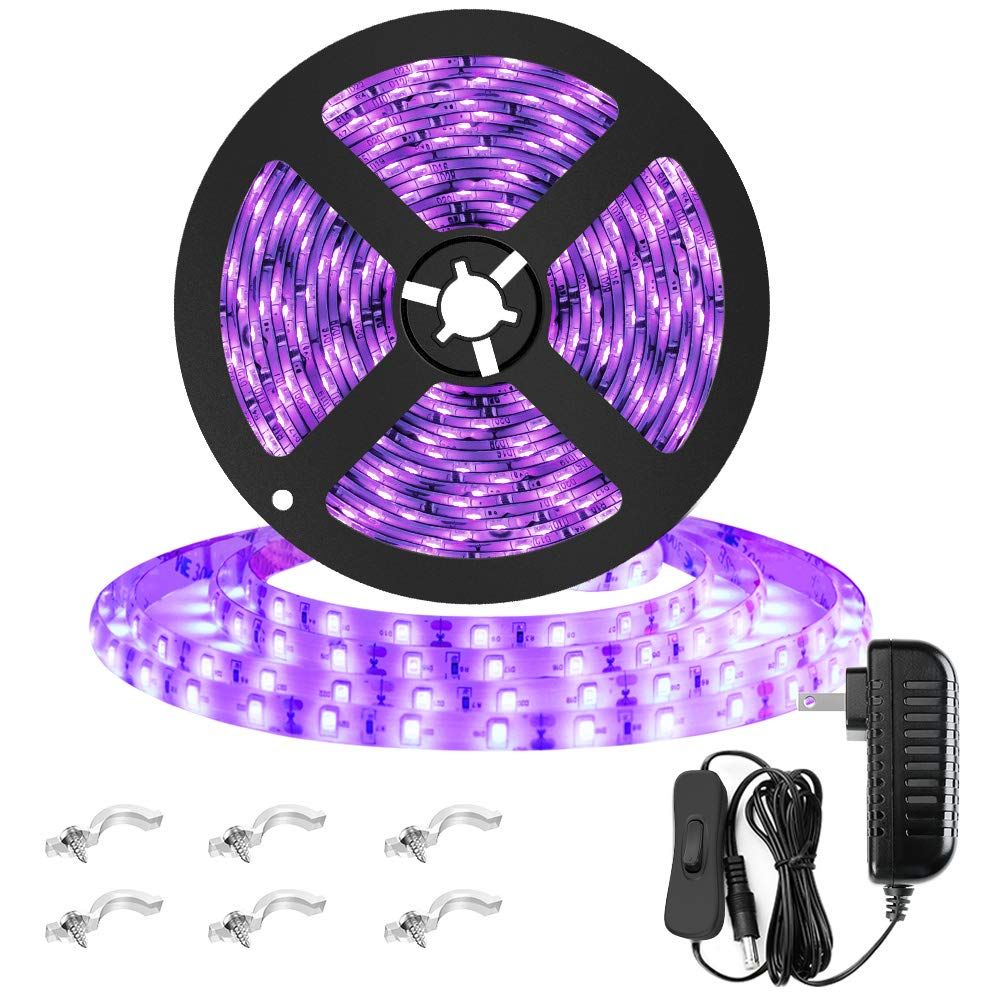 Onforu 16.4ft Waterproof UV LED Black Light Strip Lights with Switch, 300 LEDs 12V Flexible Blacklight Fixtures, for Outdoor Christmas Fluorescent Dance Party, Stage Lighting, Aquarium
