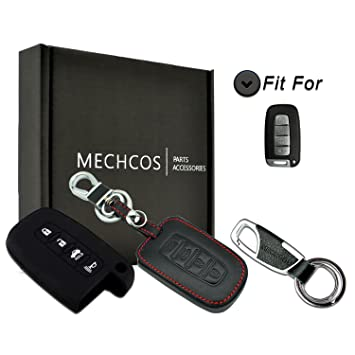 MECHCOS Compatible with fit for Hyundai Elantra Equus Genesis Sonata Veloster 4 Button Black Leather Cover Smart Keyless Remote Key Fob Case Skin, ...
