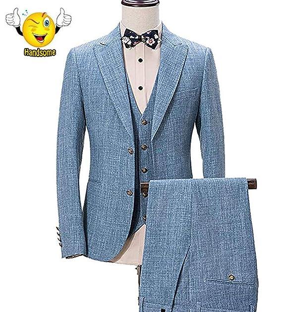 Amazon.com: Traje de boda de lino azul marino de 3 piezas ...