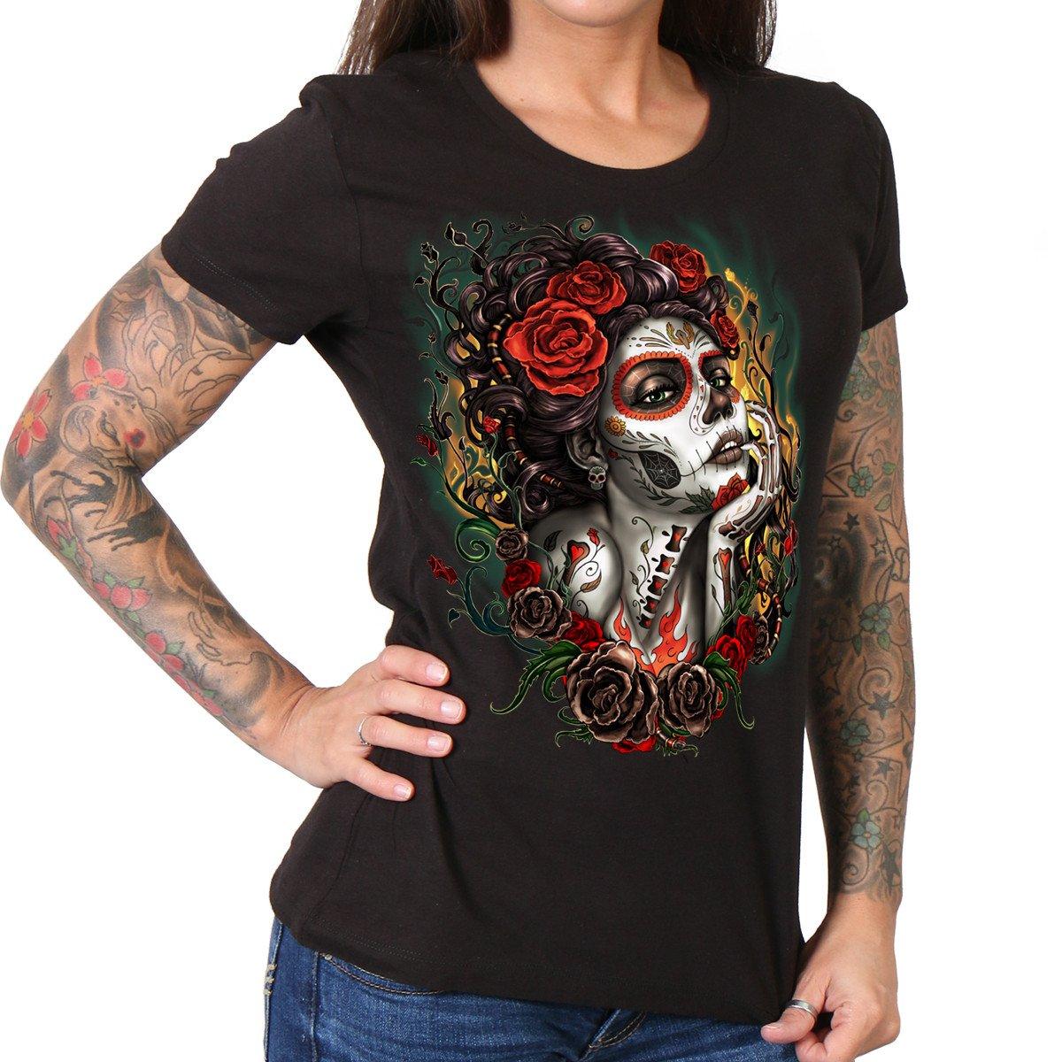 Hot Leathers Sugar Ladies Biker T-Shirt Black, Large