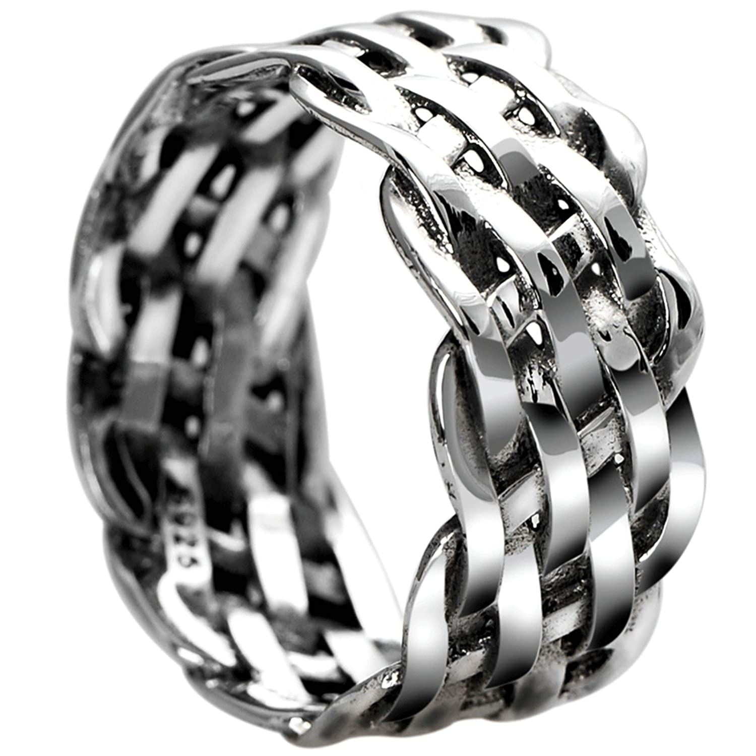 Bishilin Rings for Men Sterling Silver Weave Pattern Friendship Anniversary Rings Silver Size 11