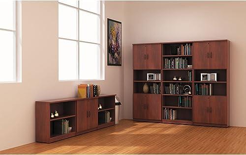 Valencia Series Four-Shelf Bookcase and Storage Cabinet Finish: Mahogany - a good cheap modern bookcase